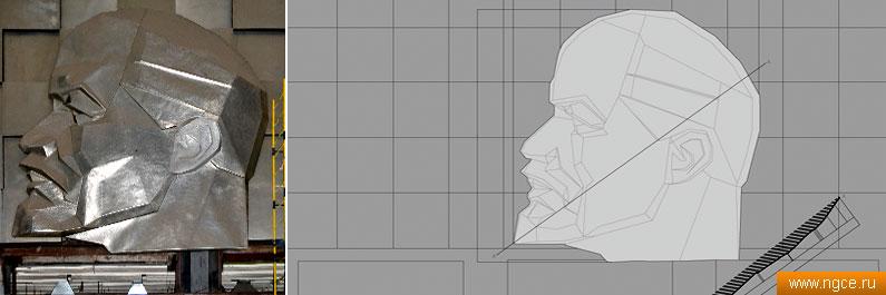 Фотография и обмерный чертеж барельефа дедушки Ленина, построенный по данным 3D сканирования