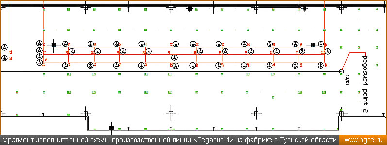 Фрагмент исполнительной схемы производственной линии «Pegasus 4» на фабрике в Тульской области